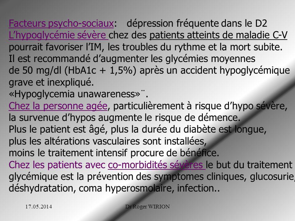 Facteurs psycho-sociaux:dépression fréquente dans le D2 Lhypoglycémie sévère chez des patients atteints de maladie C-V pourrait favoriser lIM, les troubles du rythme et la mort subite.