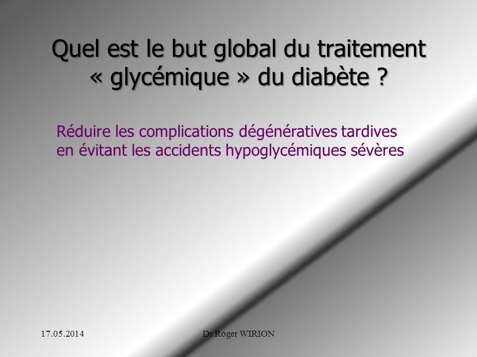 Quel est le but global du traitement « glycémique » du diabète ? Réduire les complications dégénératives tardives en évitant les accidents hypoglycémi