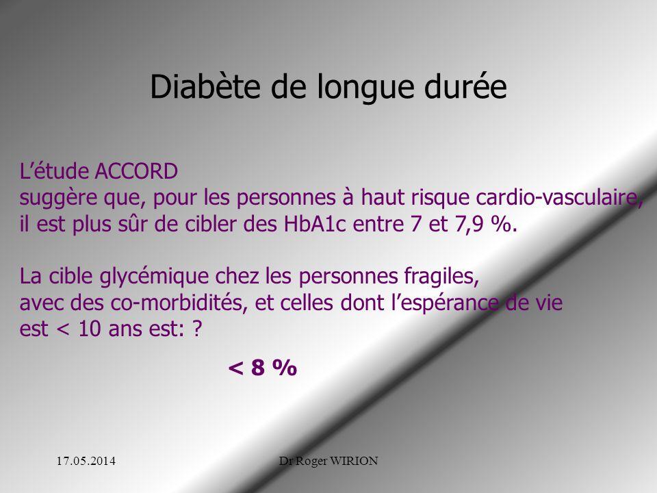 Diabète de longue durée 17.05.2014Dr Roger WIRION Létude ACCORD suggère que, pour les personnes à haut risque cardio-vasculaire, il est plus sûr de cibler des HbA1c entre 7 et 7,9 %.