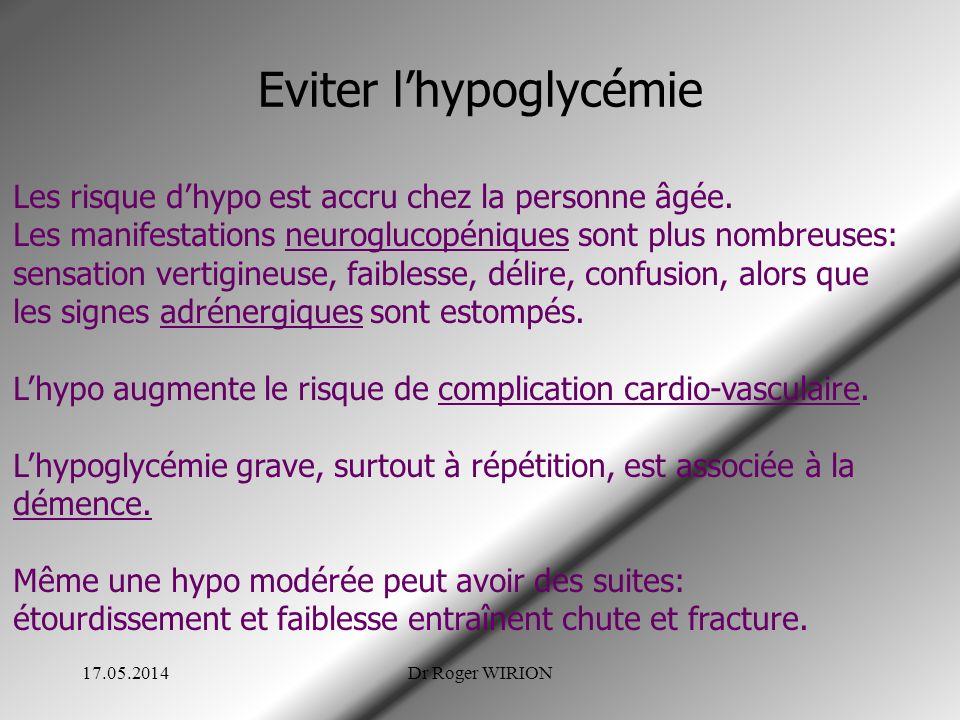 Eviter lhypoglycémie 17.05.2014Dr Roger WIRION Les risque dhypo est accru chez la personne âgée. Les manifestations neuroglucopéniques sont plus nombr