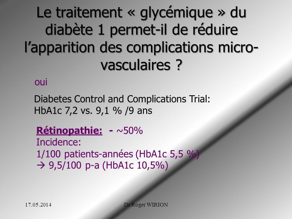 Le traitement « glycémique » du diabète 1 permet-il de réduire lapparition des complications micro- vasculaires ? oui Diabetes Control and Complicatio