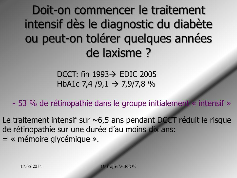 Doit-on commencer le traitement intensif dès le diagnostic du diabète ou peut-on tolérer quelques années de laxisme ? DCCT: fin 1993 EDIC 2005 HbA1c 7