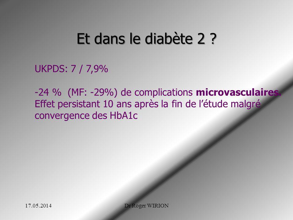 Et dans le diabète 2 ? UKPDS: 7 / 7,9% -24 % (MF: -29%) de complications microvasculaires. Effet persistant 10 ans après la fin de létude malgré conve