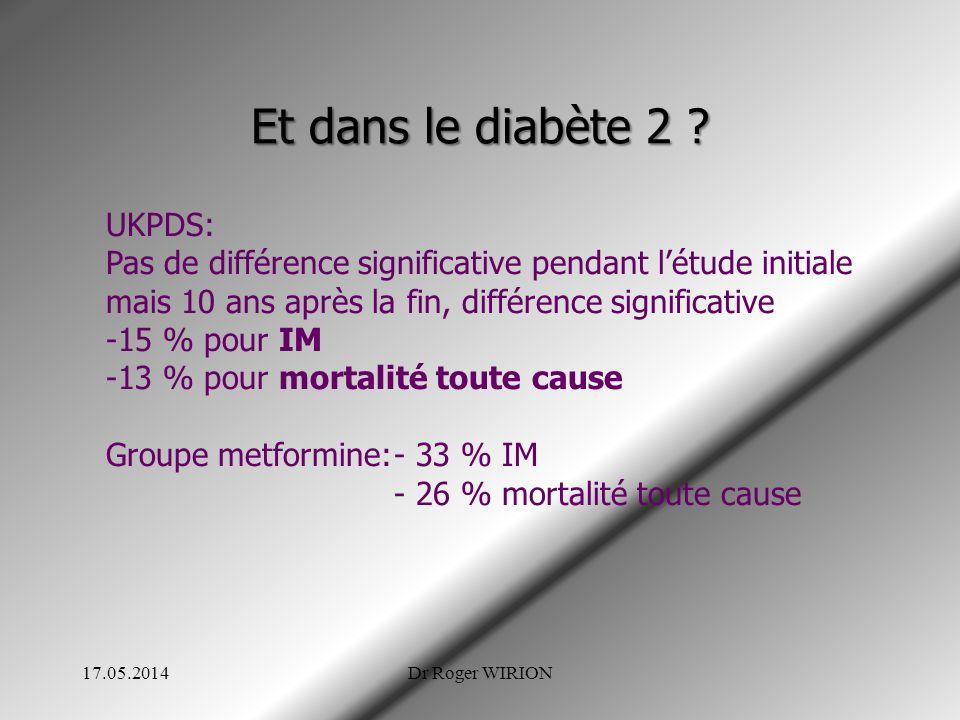 Et dans le diabète 2 ? UKPDS: Pas de différence significative pendant létude initiale mais 10 ans après la fin, différence significative -15 % pour IM