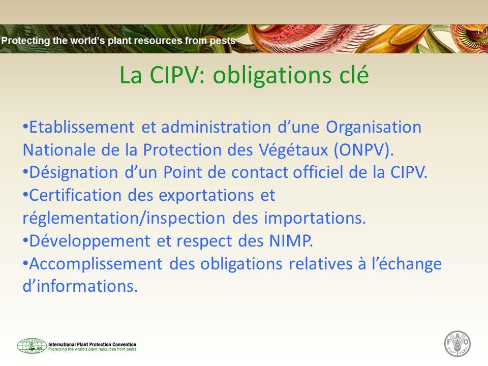 La CIPV: obligations clé Etablissement et administration dune Organisation Nationale de la Protection des Végétaux (ONPV). Désignation dun Point de co