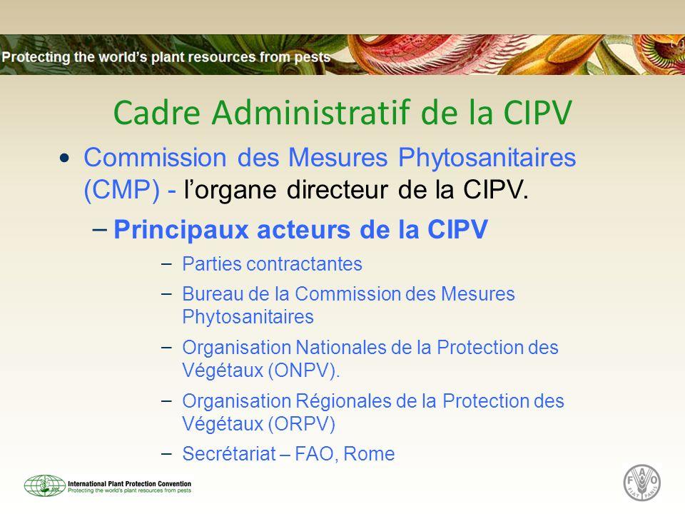 Cadre Administratif de la CIPV Commission des Mesures Phytosanitaires (CMP) - lorgane directeur de la CIPV. – Principaux acteurs de la CIPV – Parties