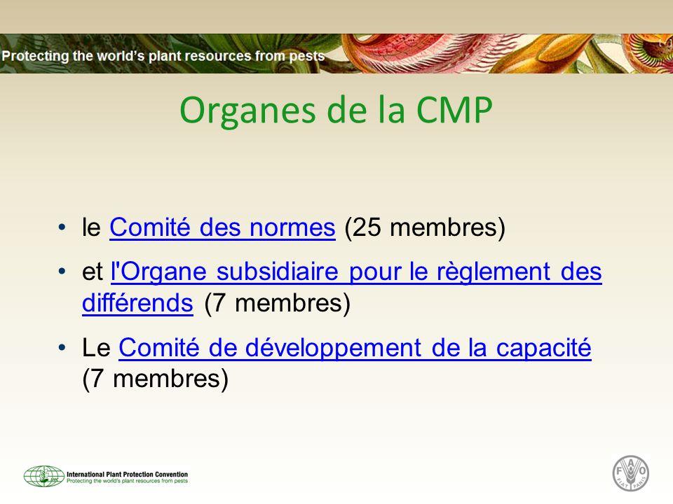 Organes de la CMP le Comité des normes (25 membres)Comité des normes et l'Organe subsidiaire pour le règlement des différends (7 membres)l'Organe subs