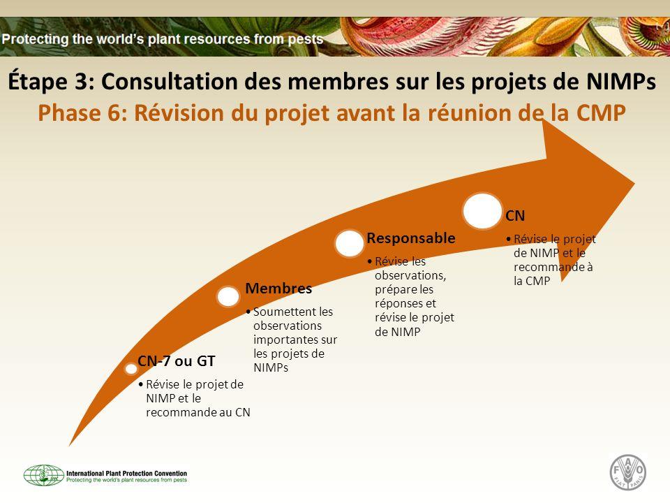 CN-7 ou GT Révise le projet de NIMP et le recommande au CN Membres Soumettent les observations importantes sur les projets de NIMPs Responsable Révise