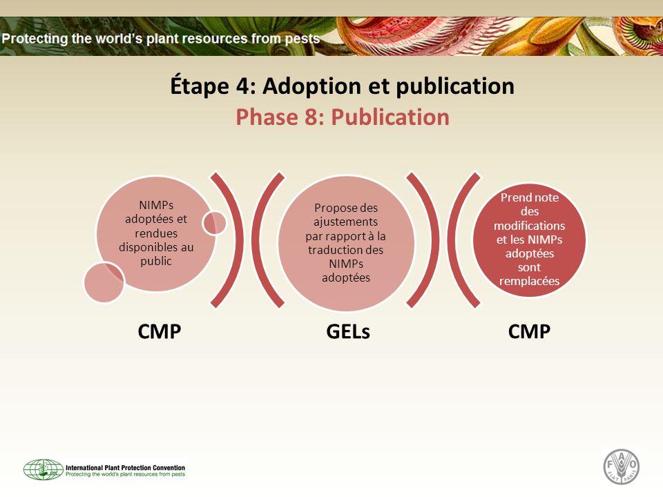 GELs CMP Propose des ajustements par rapport à la traduction des NIMPs adoptées NIMPs adoptées et rendues disponibles au public Prend note des modific