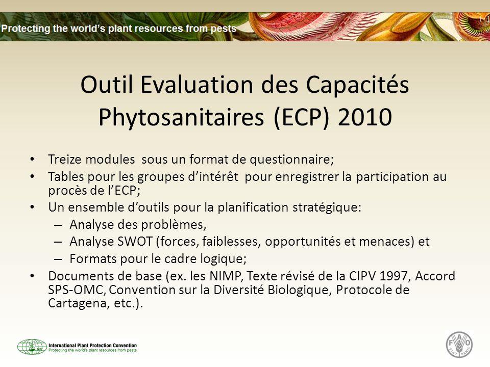 Outil Evaluation des Capacités Phytosanitaires (ECP) 2010 Treize modules sous un format de questionnaire; Tables pour les groupes dintérêt pour enregi