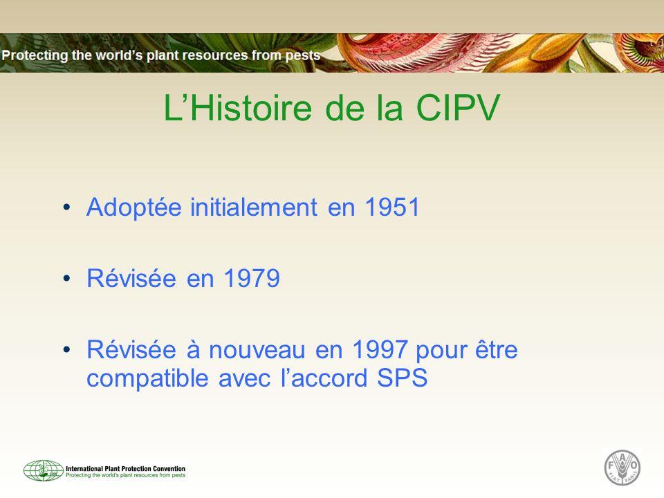 LHistoire de la CIPV Adoptée initialement en 1951 Révisée en 1979 Révisée à nouveau en 1997 pour être compatible avec laccord SPS