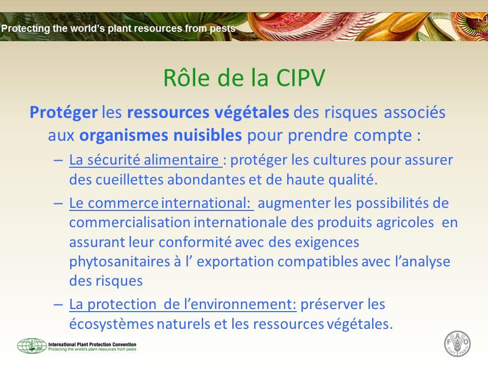 Rôle de la CIPV Protéger les ressources végétales des risques associés aux organismes nuisibles pour prendre compte : – La sécurité alimentaire : prot
