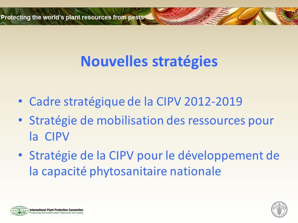 Nouvelles stratégies Cadre stratégique de la CIPV 2012-2019 Stratégie de mobilisation des ressources pour la CIPV Stratégie de la CIPV pour le dévelop