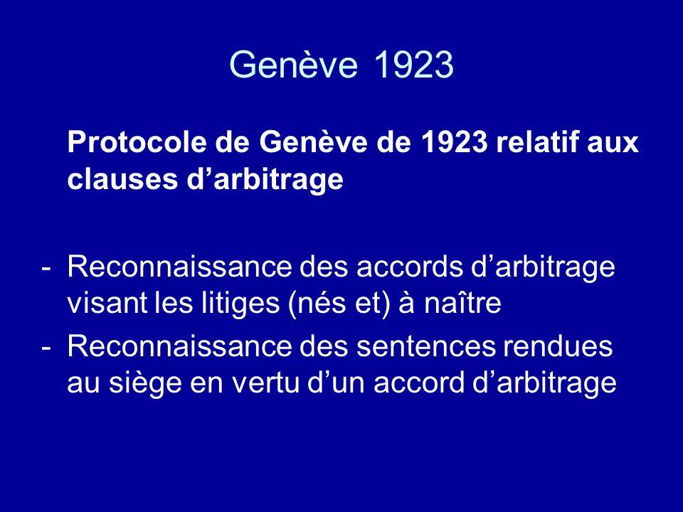 Genève 1923 Protocole de Genève de 1923 relatif aux clauses darbitrage -Reconnaissance des accords darbitrage visant les litiges (nés et) à naître -Reconnaissance des sentences rendues au siège en vertu dun accord darbitrage