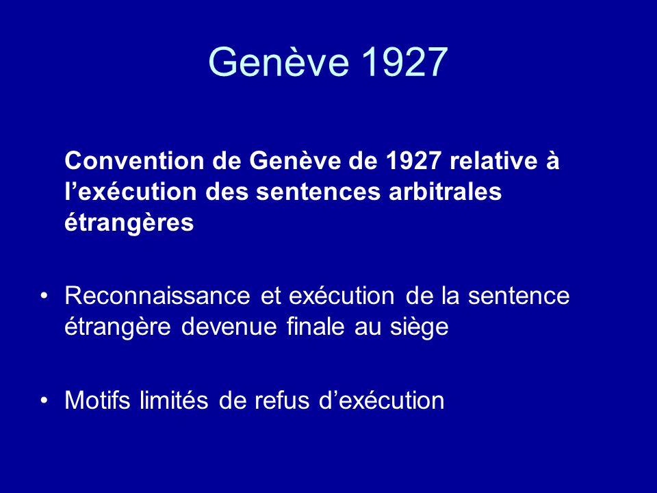 Genève 1927 Convention de Genève de 1927 relative à lexécution des sentences arbitrales étrangères Reconnaissance et exécution de la sentence étrangère devenue finale au siège Motifs limités de refus dexécution