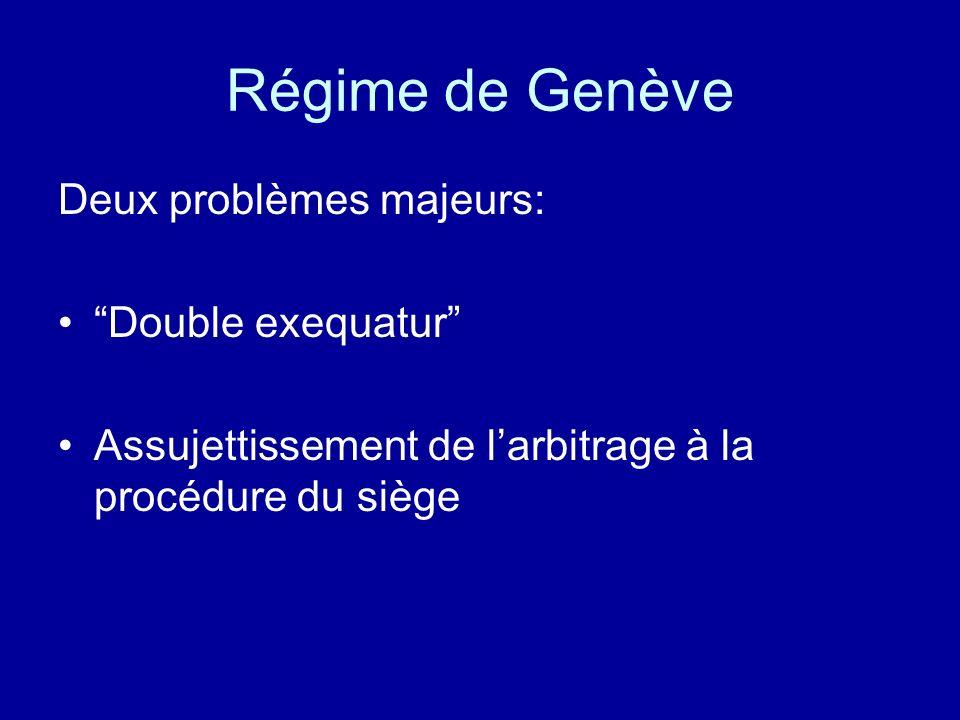 Régime de Genève Deux problèmes majeurs: Double exequatur Assujettissement de larbitrage à la procédure du siège
