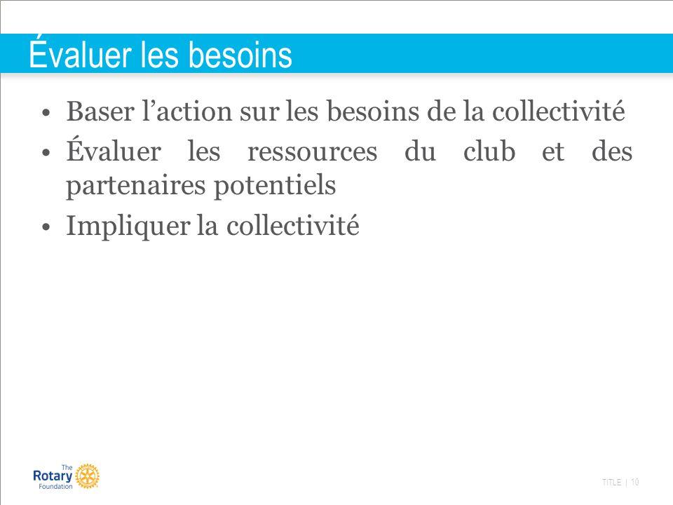 TITLE | 10 Évaluer les besoins Baser laction sur les besoins de la collectivité Évaluer les ressources du club et des partenaires potentiels Impliquer