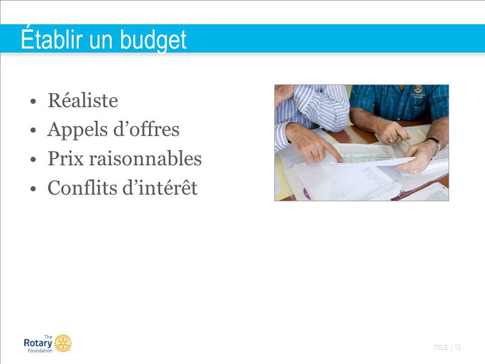 TITLE | 13 Établir un budget Réaliste Appels doffres Prix raisonnables Conflits dintérêt