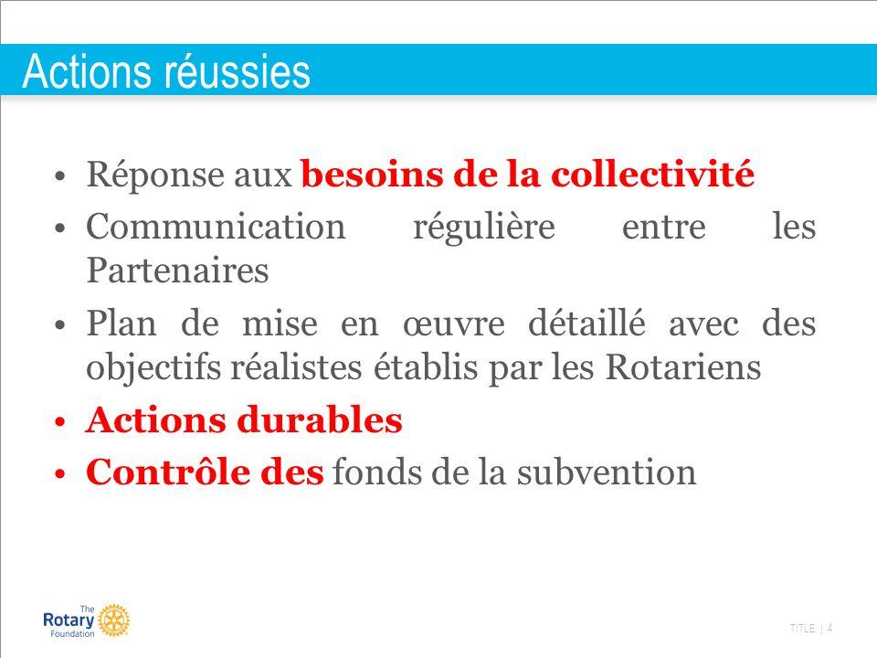 TITLE | 4 Actions réussies Réponse aux besoins de la collectivité Communication régulière entre les Partenaires Plan de mise en œuvre détaillé avec de