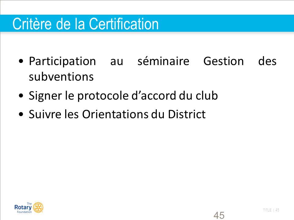 TITLE | 45 45 Critère de la Certification Participation au séminaire Gestion des subventions Signer le protocole daccord du club Suivre les Orientatio