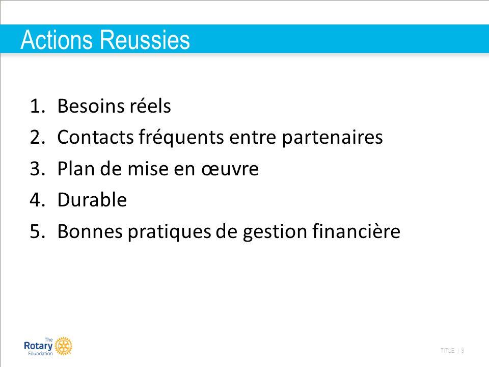 TITLE | 9 Actions Reussies 1.Besoins réels 2.Contacts fréquents entre partenaires 3.Plan de mise en œuvre 4.Durable 5.Bonnes pratiques de gestion fina
