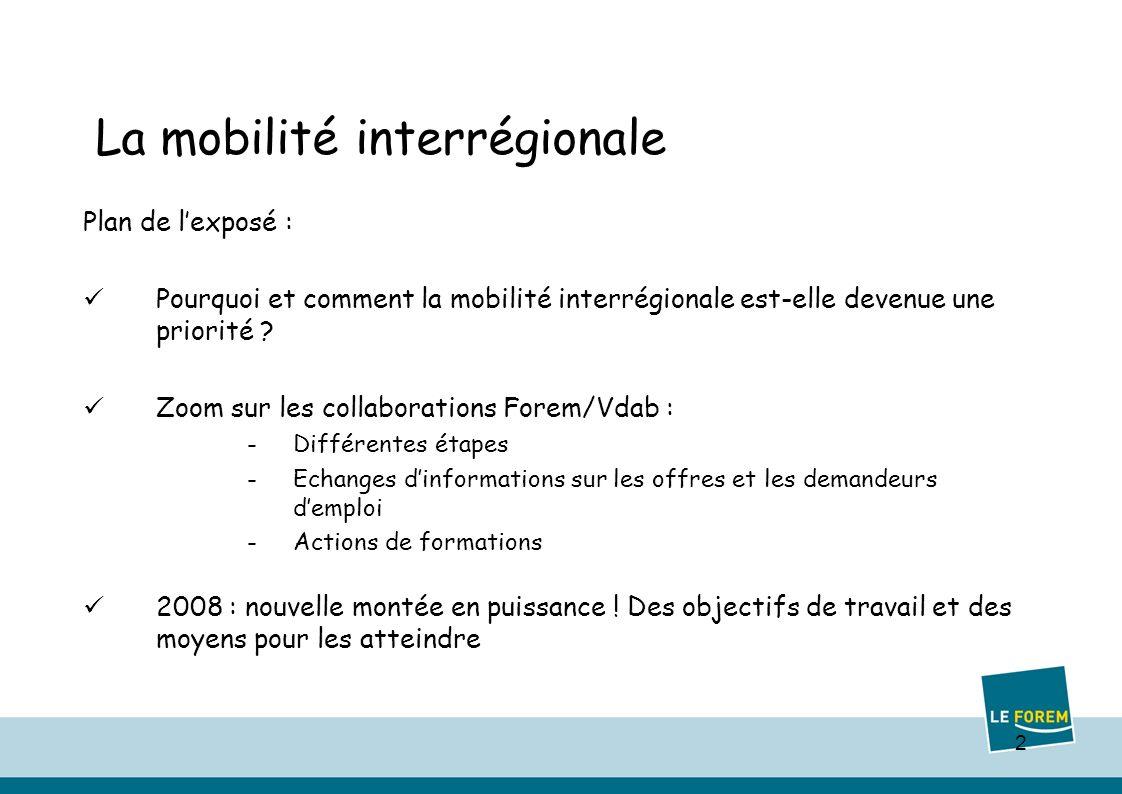 2 Plan de lexposé : Pourquoi et comment la mobilité interrégionale est-elle devenue une priorité .