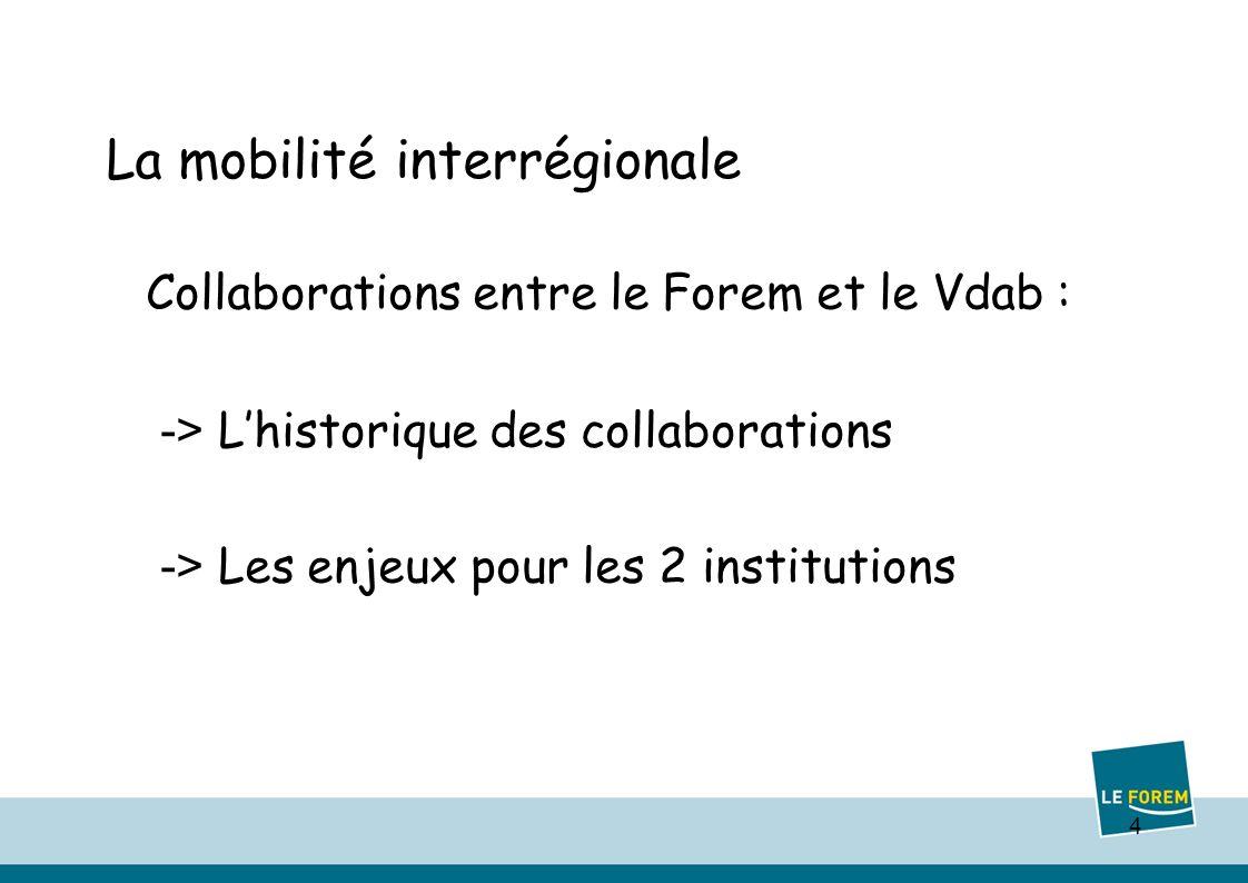 4 La mobilité interrégionale Collaborations entre le Forem et le Vdab : -> Lhistorique des collaborations -> Les enjeux pour les 2 institutions