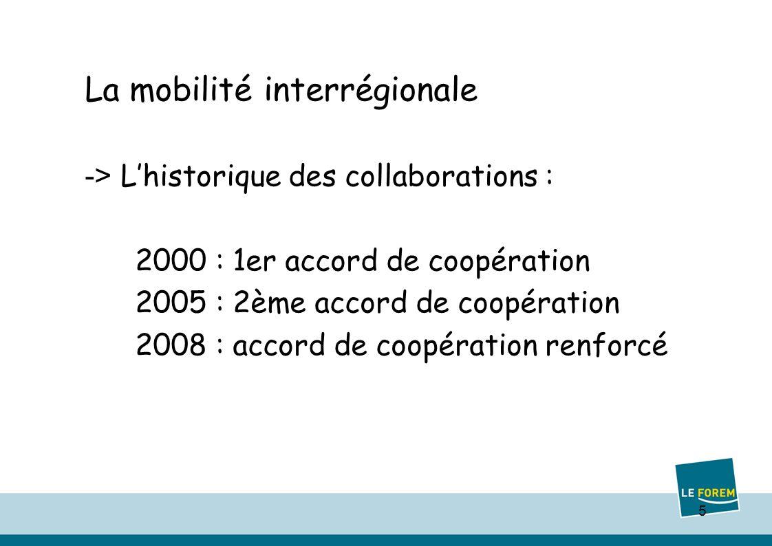 5 La mobilité interrégionale -> Lhistorique des collaborations : 2000 : 1er accord de coopération 2005 : 2ème accord de coopération 2008 : accord de coopération renforcé