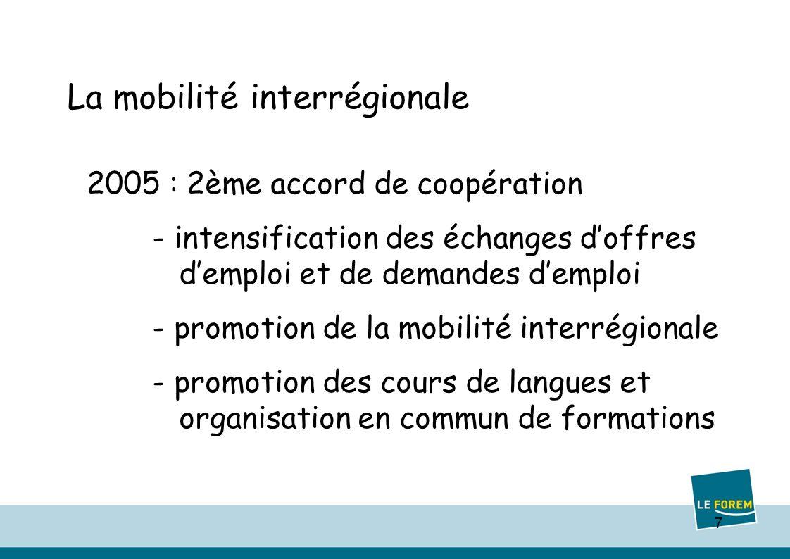 7 La mobilité interrégionale 2005 : 2ème accord de coopération - intensification des échanges doffres demploi et de demandes demploi - promotion de la mobilité interrégionale - promotion des cours de langues et organisation en commun de formations