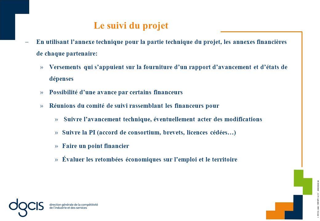 PH.VRIGNAUD ; le 29 septembre 2009 Version 1 Le suivi du projet –En utilisant lannexe technique pour la partie technique du projet, les annexes financ