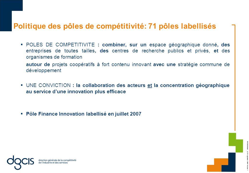 PH.VRIGNAUD ; le 29 septembre 2009 Version 1 Politique des pôles de compétitivité: 71 pôles labellisés POLES DE COMPETITIVITE : combiner, sur un espac