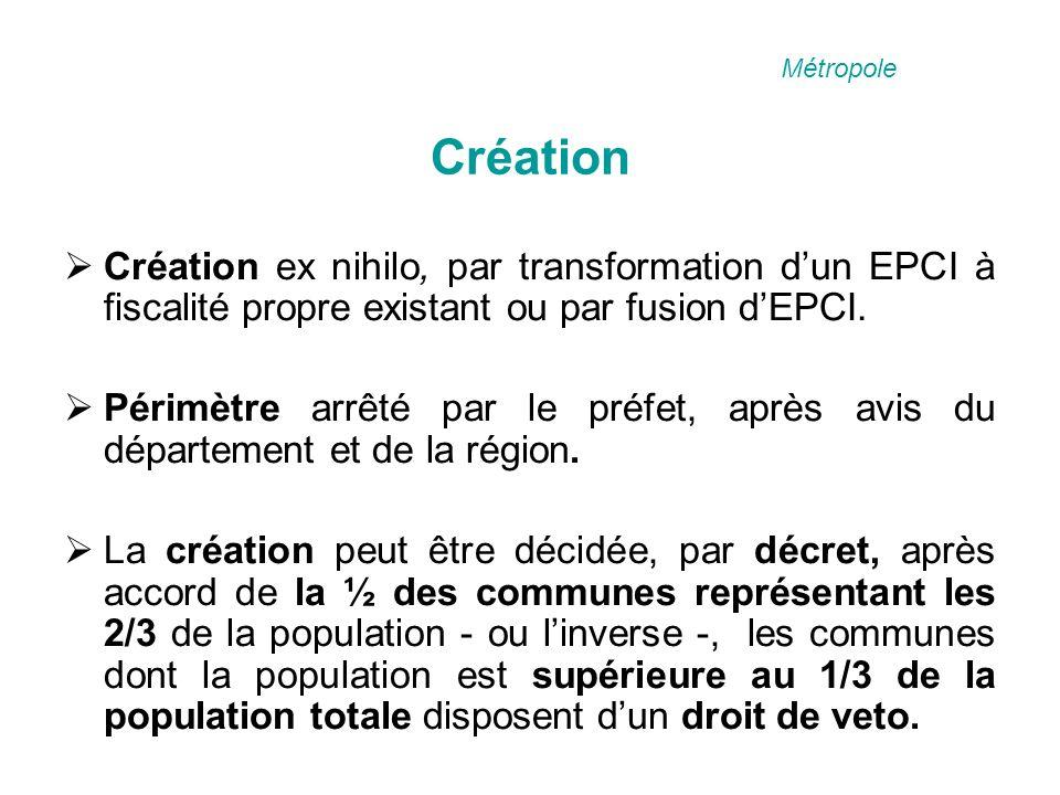 Création Création ex nihilo, par transformation dun EPCI à fiscalité propre existant ou par fusion dEPCI.