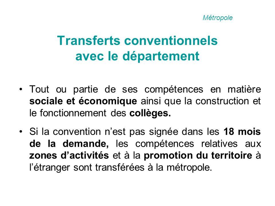 Transferts conventionnels avec le département Tout ou partie de ses compétences en matière sociale et économique ainsi que la construction et le fonctionnement des collèges.