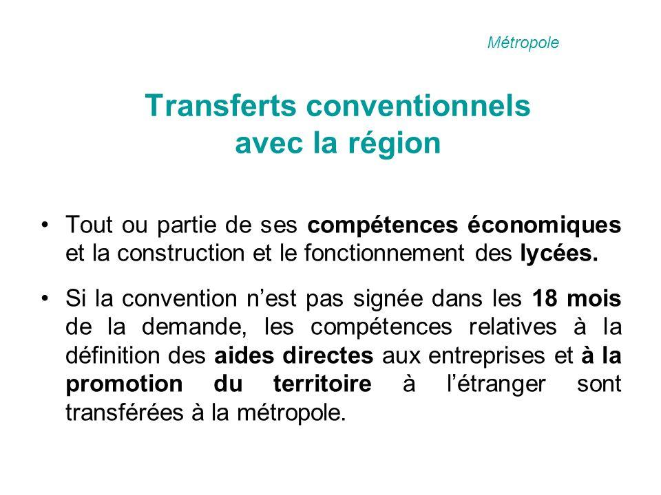 Transferts conventionnels avec la région Tout ou partie de ses compétences économiques et la construction et le fonctionnement des lycées.