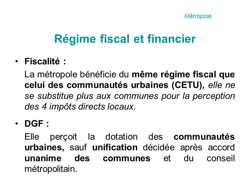 Régime fiscal et financier Fiscalité : La métropole bénéficie du même régime fiscal que celui des communautés urbaines (CETU), elle ne se substitue plus aux communes pour la perception des 4 impôts directs locaux.