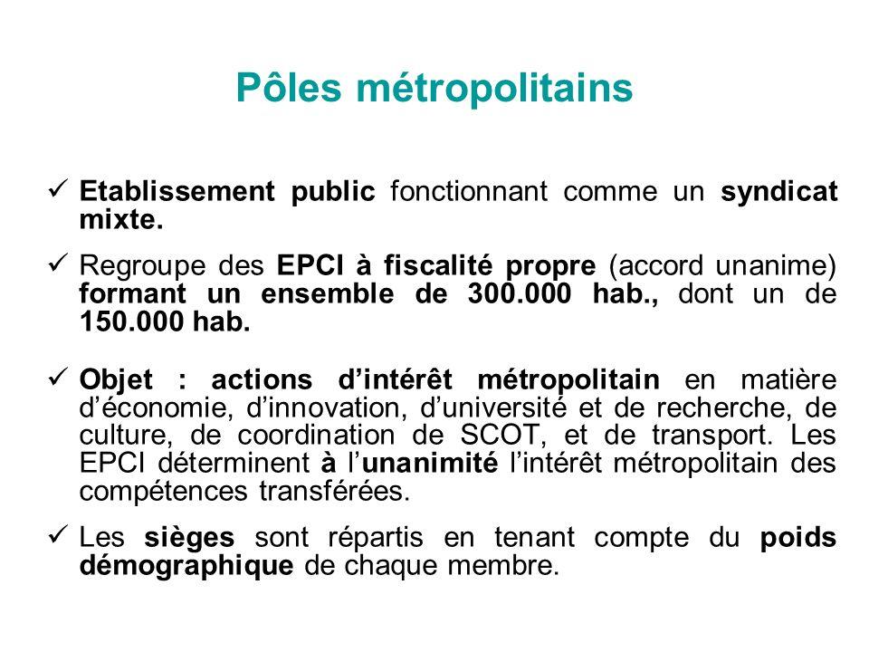 Pôles métropolitains Etablissement public fonctionnant comme un syndicat mixte.