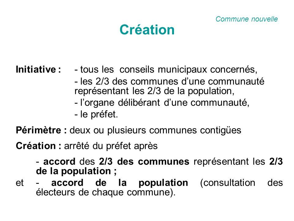 Création Initiative : - tous les conseils municipaux concernés, - les 2/3 des communes dune communauté représentant les 2/3 de la population, - lorgane délibérant dune communauté, - le préfet.