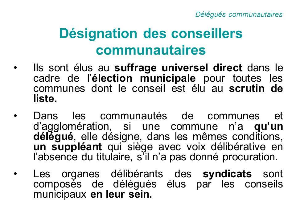 Désignation des conseillers communautaires Ils sont élus au suffrage universel direct dans le cadre de lélection municipale pour toutes les communes dont le conseil est élu au scrutin de liste.