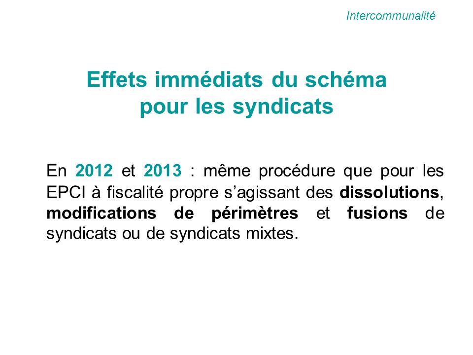 Effets immédiats du schéma pour les syndicats En 2012 et 2013 : même procédure que pour les EPCI à fiscalité propre sagissant des dissolutions, modifications de périmètres et fusions de syndicats ou de syndicats mixtes.