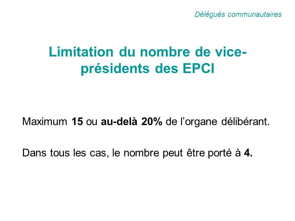 Limitation du nombre de vice- présidents des EPCI Maximum 15 ou au-delà 20% de lorgane délibérant.