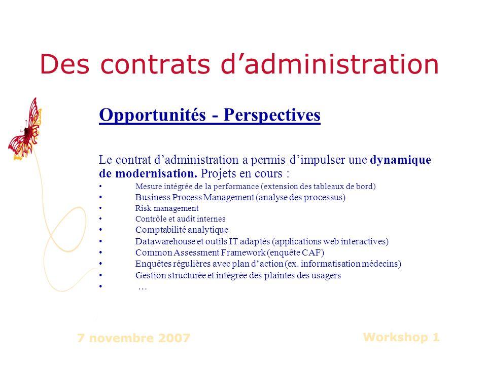 Des contrats dadministration Opportunités - Perspectives Le contrat dadministration a permis dimpulser une dynamique de modernisation.