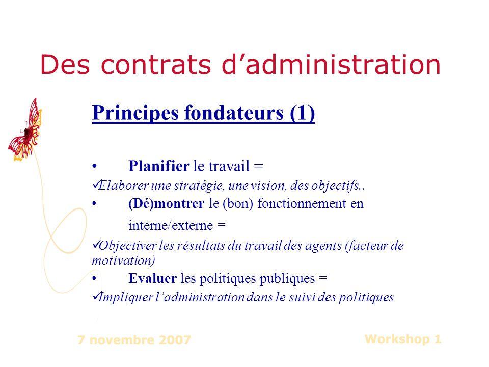 Des contrats dadministration Principes fondateurs (1) Planifier le travail = Elaborer une stratégie, une vision, des objectifs..