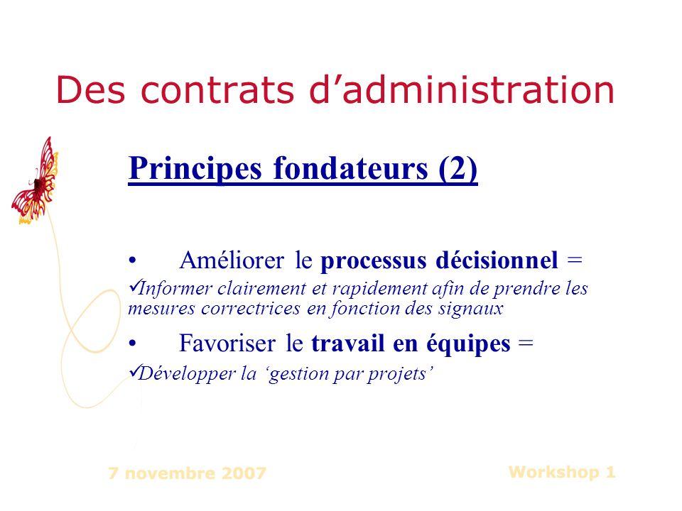 Des contrats dadministration Principes fondateurs (2) Améliorer le processus décisionnel = Informer clairement et rapidement afin de prendre les mesures correctrices en fonction des signaux Favoriser le travail en équipes = Développer la gestion par projets