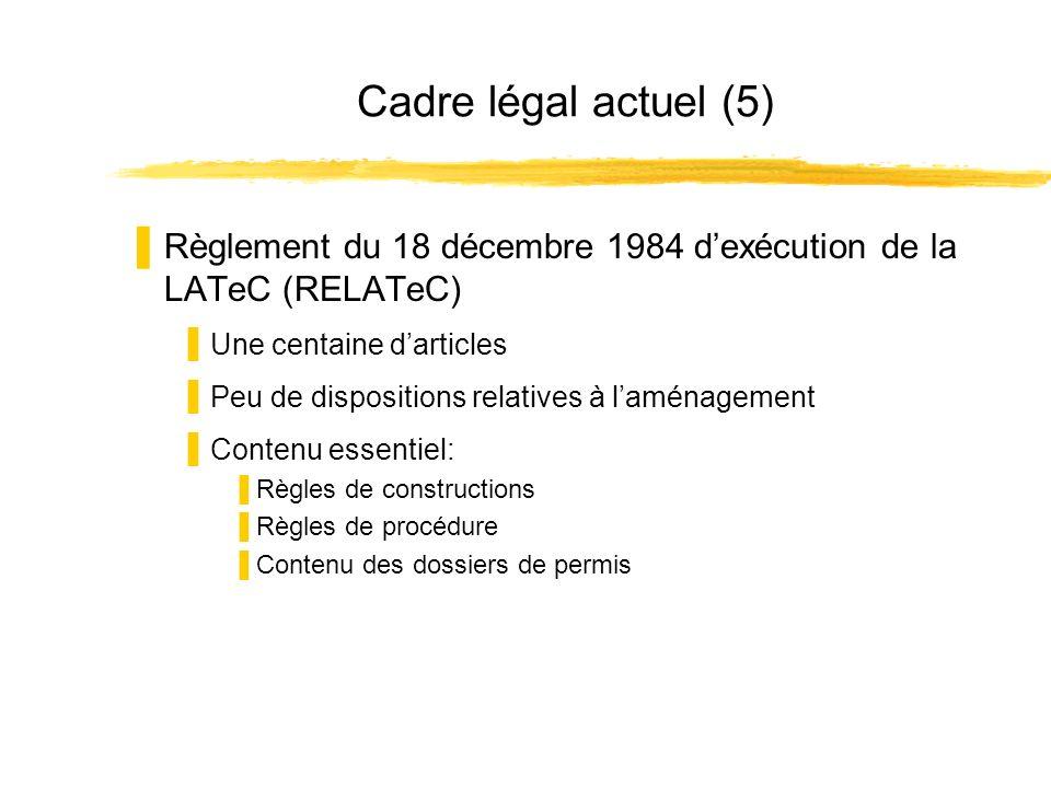 Cadre légal actuel (5) Règlement du 18 décembre 1984 dexécution de la LATeC (RELATeC) Une centaine darticles Peu de dispositions relatives à laménagement Contenu essentiel: Règles de constructions Règles de procédure Contenu des dossiers de permis