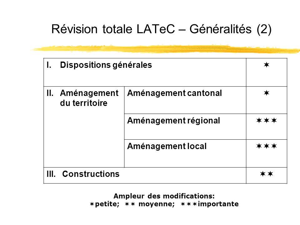 Révision totale LATeC – Généralités (2) I.Dispositions générales II.Aménagement du territoire Aménagement cantonal Aménagement régional Aménagement local III.