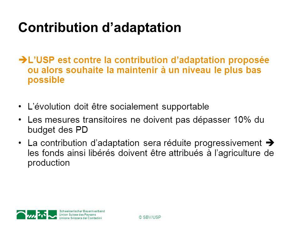 Schweizerischer Bauernverband Union Suisse des Paysans Unione Svizzera dei Contadini © SBV/USP Contribution dadaptation LUSP est contre la contributio