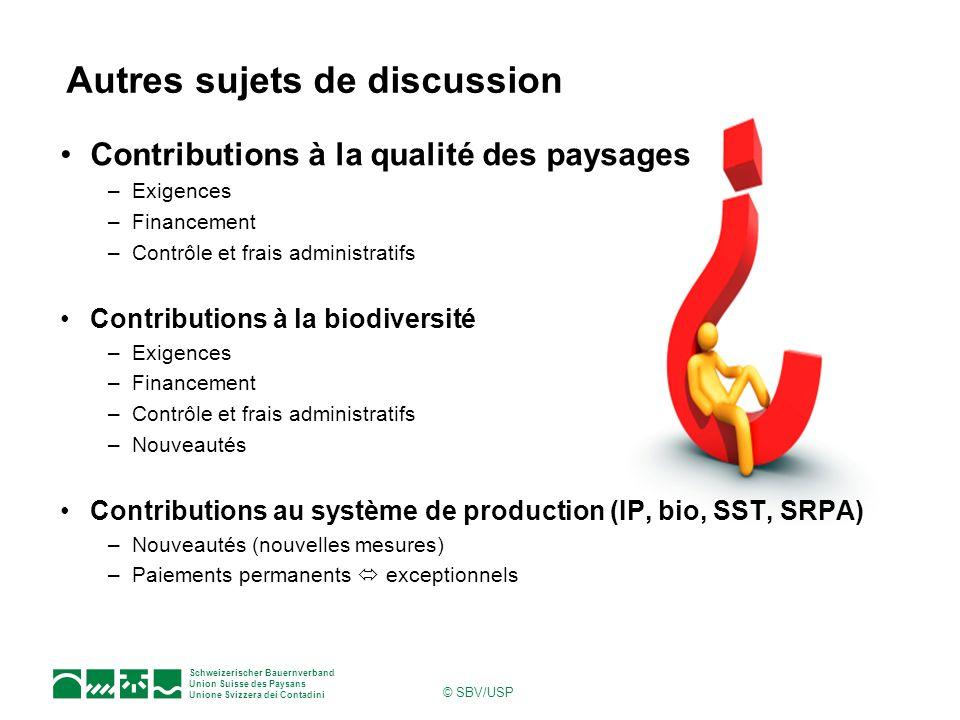 Schweizerischer Bauernverband Union Suisse des Paysans Unione Svizzera dei Contadini © SBV/USP Contributions à la qualité des paysages –Exigences –Fin