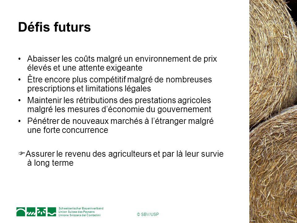 Schweizerischer Bauernverband Union Suisse des Paysans Unione Svizzera dei Contadini © SBV/USP Défis futurs Abaisser les coûts malgré un environnement