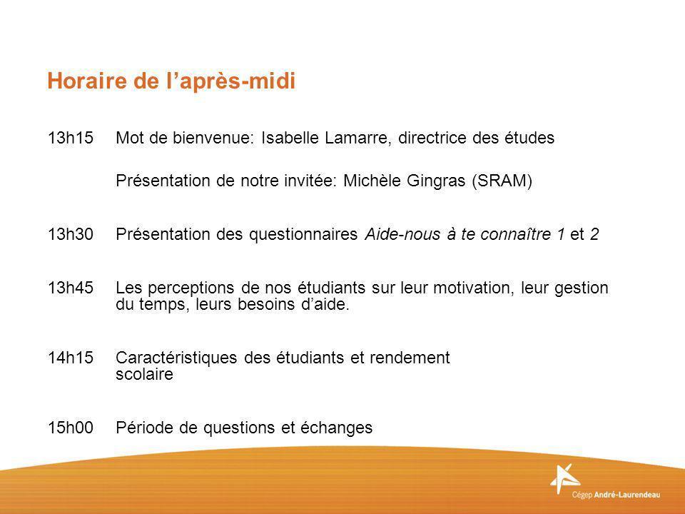 13h15Mot de bienvenue: Isabelle Lamarre, directrice des études Présentation de notre invitée: Michèle Gingras (SRAM) 13h30Présentation des questionnai
