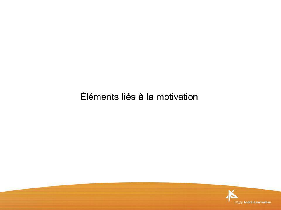Éléments liés à la motivation